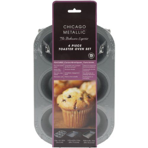 Chicago Metallic is the preferred choice by bakers who understand quality, design and durability. Chicago metallic never disappoints: non-stick, easy release with every recipe, effortless clean-up and consistency that defines a new meaning to perfection every time. Specialty bakeware. Where... - http://kitchen-dining.bestselleroutlet.net/product-review-for-chicago-metallic-non-stick-4-piece-toaster-oven-set/