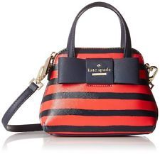kate spade new york Julia Street Stripe Mini Maise Cross Body Bag, Rich Navy/Che