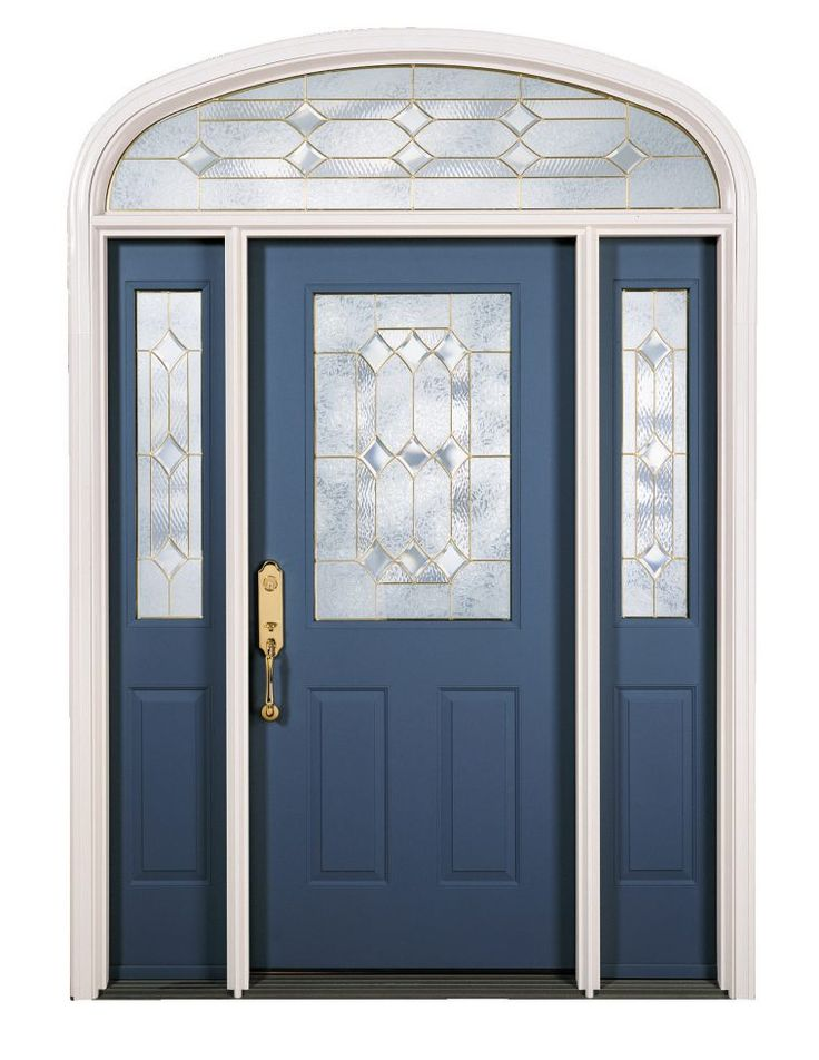 Luxurious Navy Blue Painted Wooden Front Door With Transom