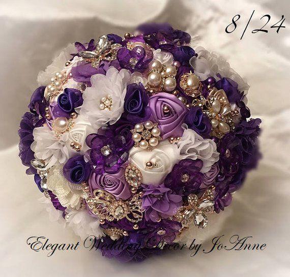 Purple /& ivory with pink rhinestone embellishments Brooch Wedding bouquet