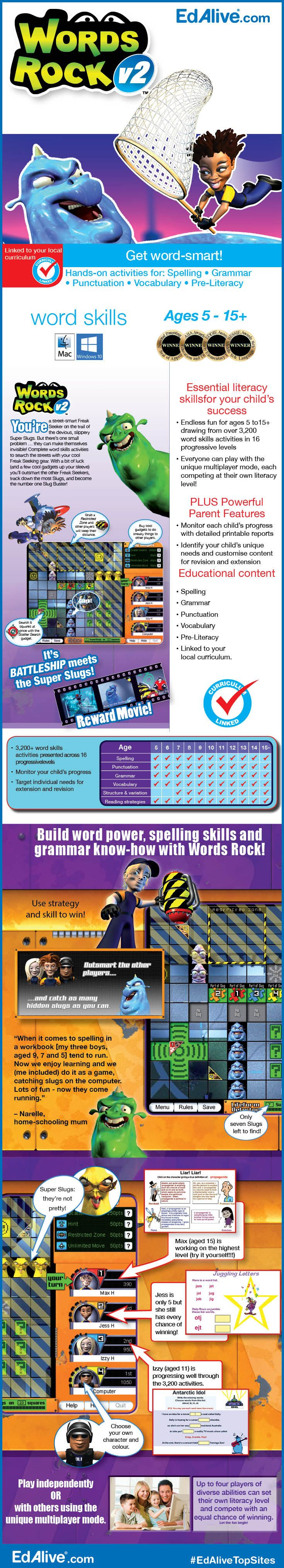 Build word power, spelling skills and grammar know-know with Words Rock! Outsmart your competitors as you solve your share of over 3,200 hands-on word skill activities. Words spring to life in this quirky, exciting single and multiplayer game. Get started straight out of the box, or take advantage of the powerful diagnostic and reporting capabilities to zero in on your child's learning needs. #WordSkills #EdAliveTopSites