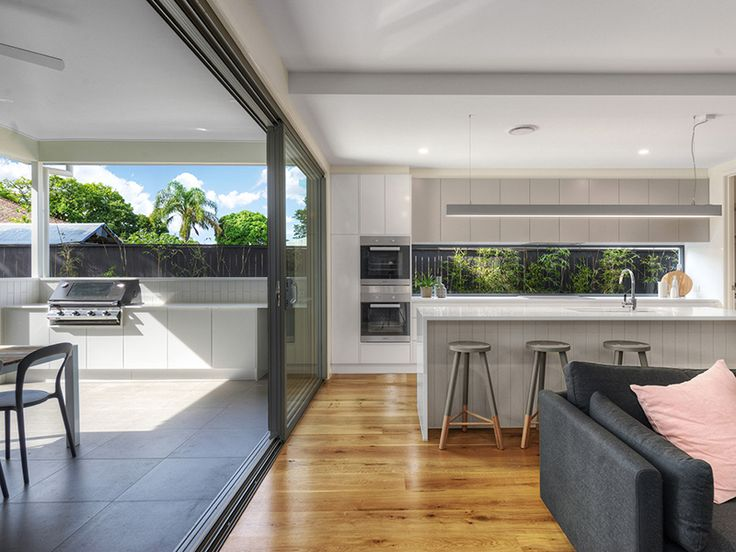 A Kalka Kitchen And Outdoor Entertainment Area In A Small Lot Home In  Wooloowin, Brisbane