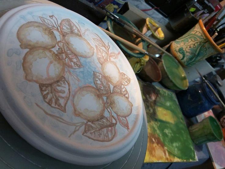 Ceramica artistica siciliana Bluarte ~ Giardini Naxos ~ Sicilia  Limoni ~work in progress