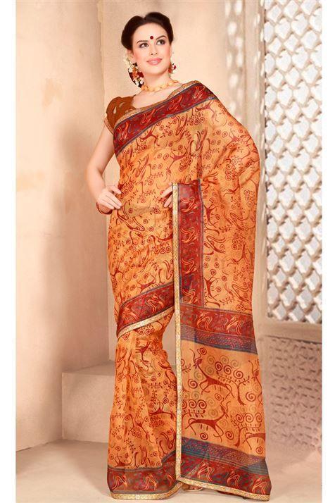 Beautiful Printed Cotton Saree with Blouse