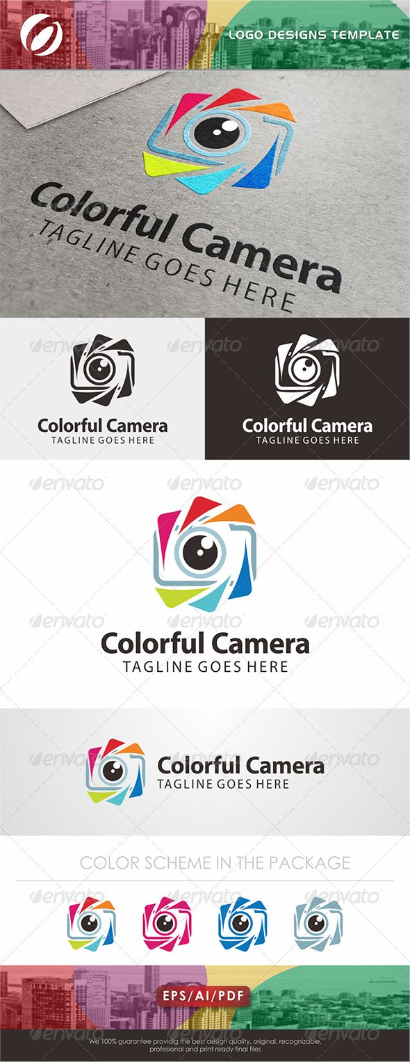 Colorful Camera Logo — AI Illustrator #photography #image • Available here → https://graphicriver.net/item/colorful-camera-logo/7680122?ref=pxcr