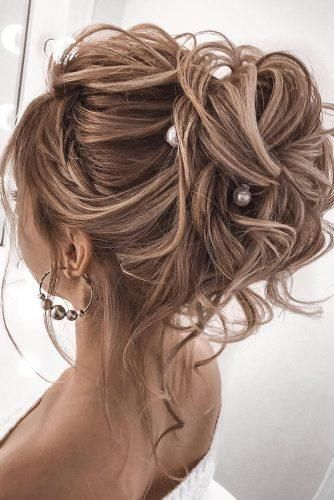 Wedding Hairstyles For Medium Length Hair ★ wedding hairstyles medium hair high updo with loose curls and pearls tatistylespb