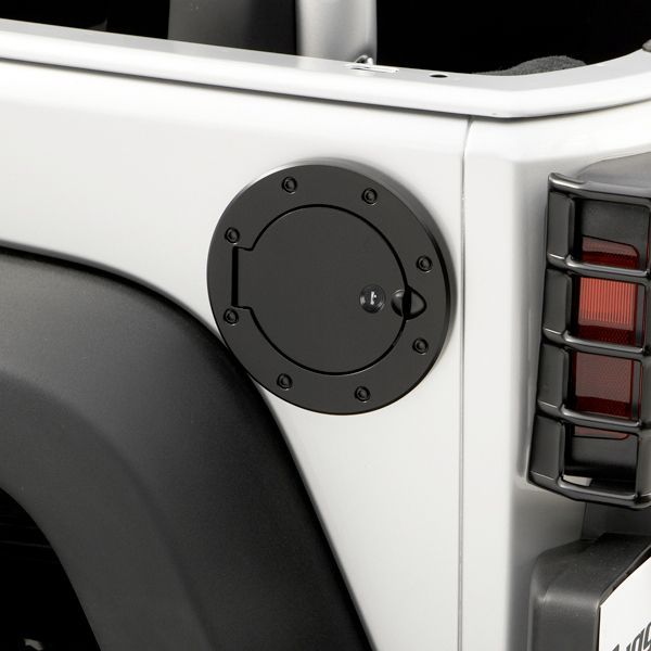 Rugged Ridge Locking Gas Hatch Cover in Black Painted Stainless  Keep my girls fuel on lock down!