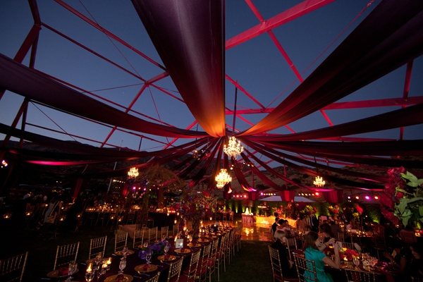Red | Purple | Wedding Reception at Night | Chandeliers | Exquisite Events