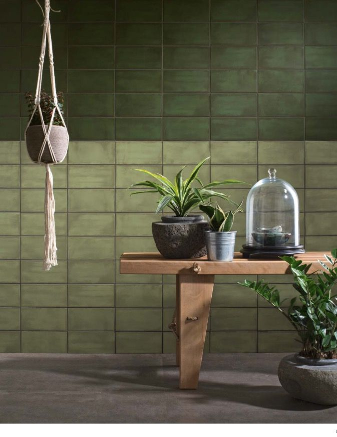 May Series Fern Bottom Olive Top 4x10 Wall Tile Made