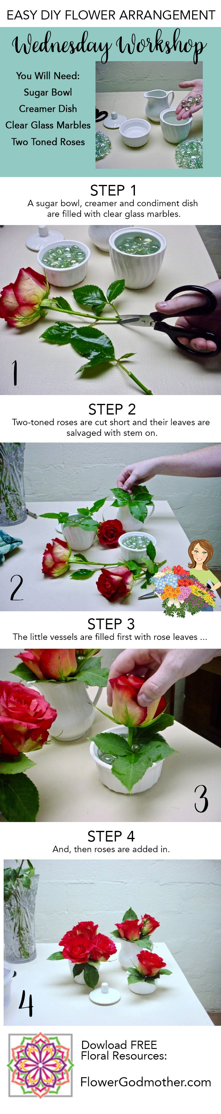 Wednesday Workshop! Cute Kitchen Accents: 1. A sugar bowl, creamer and condiment dish are filled with clear glass marbles. 2. Two-toned roses are cut short and their leaves are salvaged with stem on. 3. The little vessels are filled first with rose leaves ... 4. And, then roses are added in.     #diy #diyflowers #autumn #fall #flowerarrangement