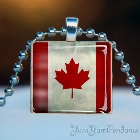 Scrabble Tile Pendant . Canadian Flag - Canada Day