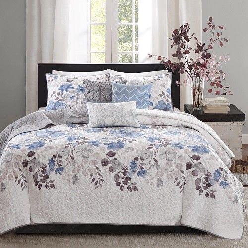 Queen Size Quilt Set Blue Floral Pattern 6 Pieces Coverlet Accent Pillows Sham  #QueenSizeQuiltSet #Contemporary
