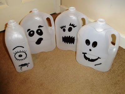 my version of the halloween milk jug ghosts as often seen here on pinterest do - Milk Carton Halloween Ghosts