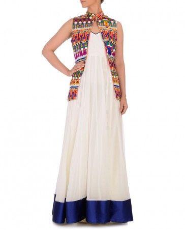 Stark White Anarkali with Kutch Jacket - Aakarshan - Sale