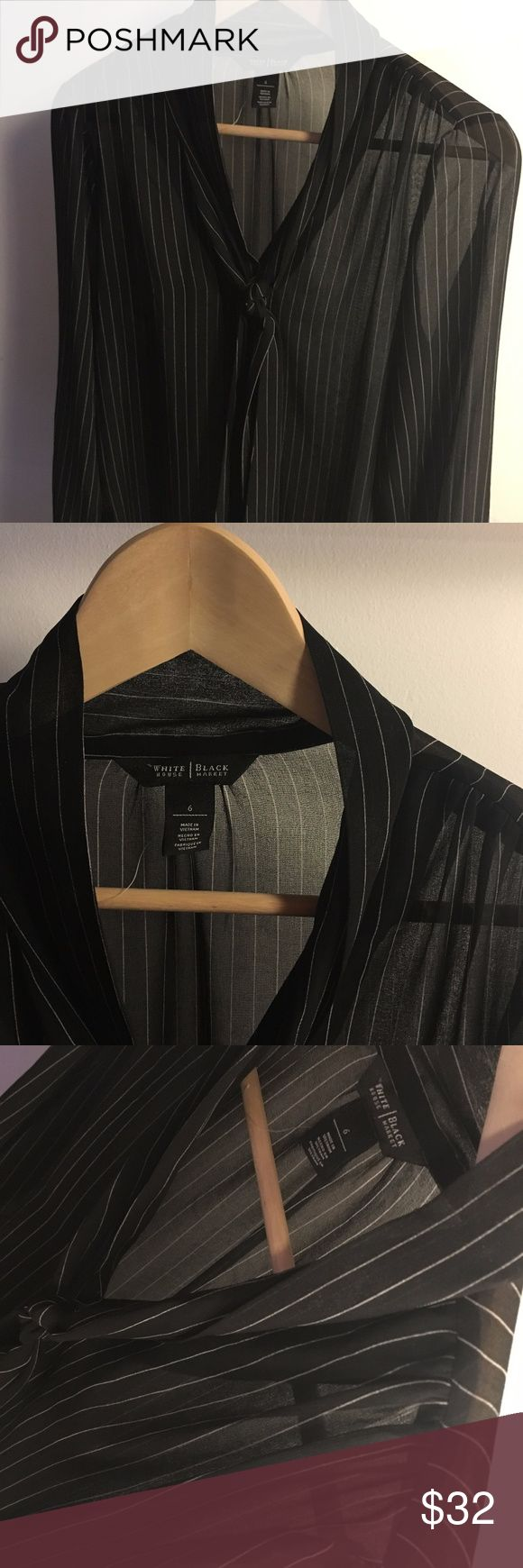 WHBM Sheer Black Blouse with Stripes - NEW item. White House Black Market Blous New - Never Worn. Black Sheer with Shite Stripes Tie Bow Neck Size: Medium Would look great under blazer, wool romper or cashmere sweater. Dress down or up, going out or work appropriate layered over cami. White House Black Market Tops Blouses