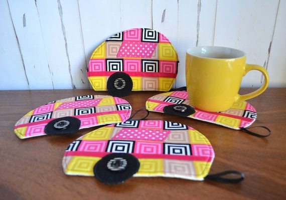 Caravan coaster set Retirement gift abstract by RobynFayeDesigns
