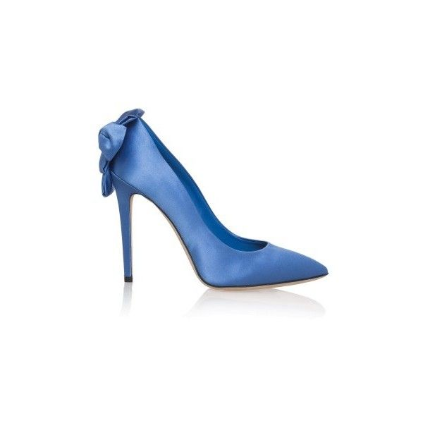 Olgana Paris Pointed Bow Heels ($775) ❤ liked on Polyvore featuring shoes, pumps, blue, evening pumps, high heel shoes, blue high heel pumps, high heel stilettos and pointed toe shoes