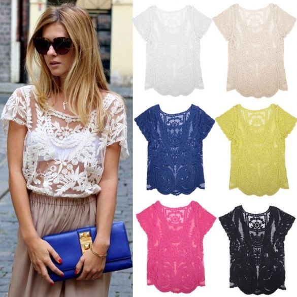 Women Summer Sexy Hollow-Out Blouse Embroidered Floral Lace Crochet Short Sleeve Shirt knitwear