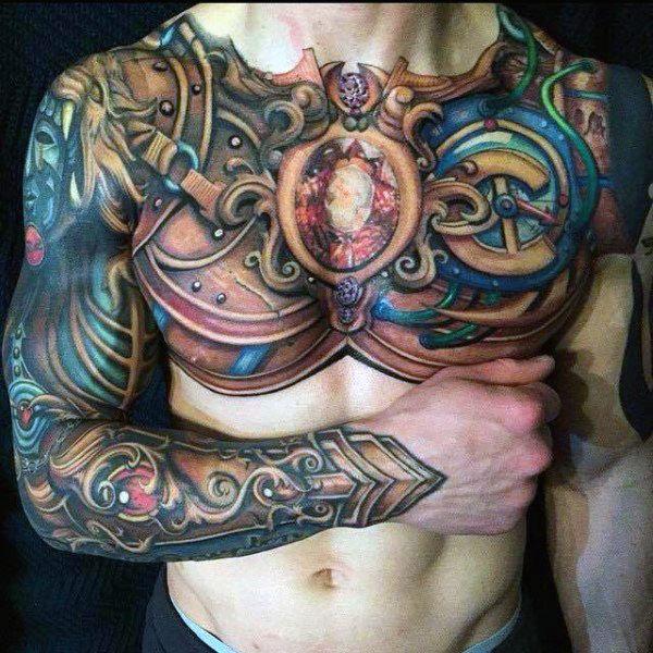 Full Chest Body Armor Tattoo                                                                                                                                                                                 More