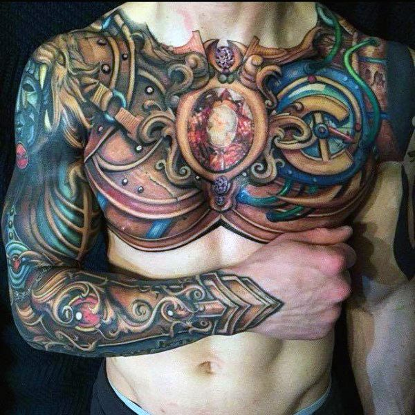 Full Chest Body Armor Tattoo