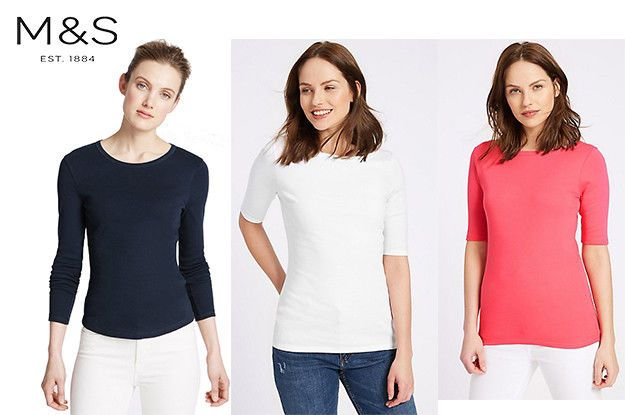M/&S Scoop Slash neck Cotton White Pink Navy Blue Black T Shirt Top Blouse 8-30