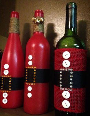 Xmas wine bottle decorations