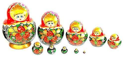Unique Authentic Russian Hand Painted Handmade Red Nesting Dolls Set of 10 Pcs Matryoshkas Christmas  HISTORY: Matryoshkas date from 1890. The story goes that Sergei Maliutin, a painter from a folk crafts workshop in the Abramtsevo estate of a famous Russian industrialist and patron of arts Savva Mamontov, saw a set of #Japanese #wooden #dolls representing Shichi-fuku-jin, the Seven Gods of Fortune. Inspired, Maliutin drew a sketch of a Russian version of the toy.