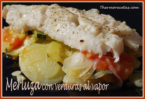 Merluza con verduras al vapor