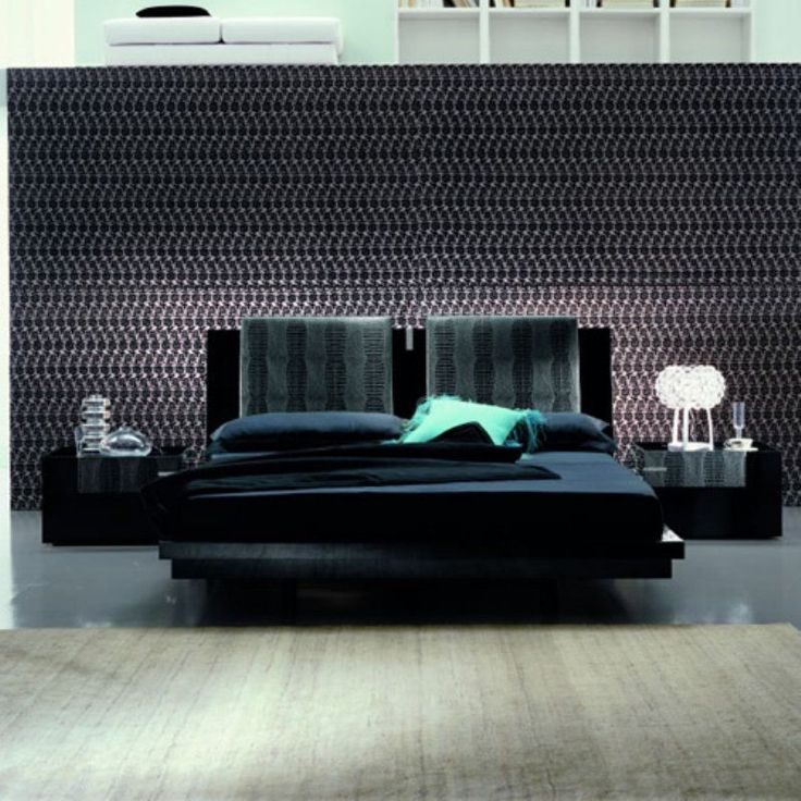 rossetto black diamond leather platform bed size king rst0952