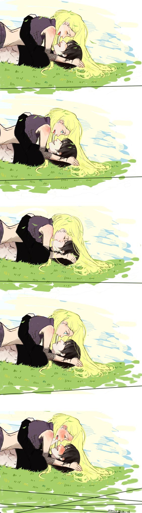 Ino blushes cus she feels sai's boner Sai blushes cus he knows she feels it