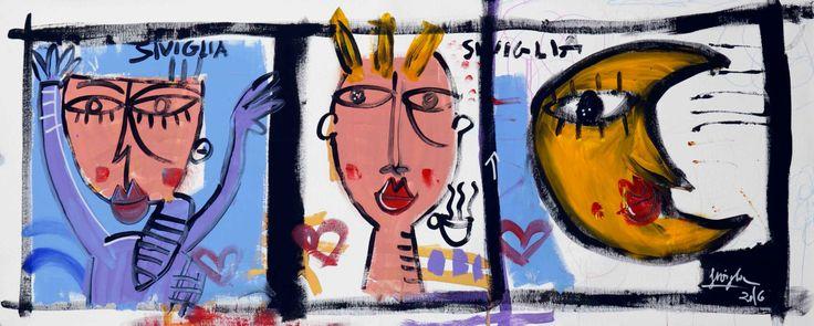 la diapositiva dipinto moderno olio su tela pop art arte moderna quadri arredamento casa di paintingsiviglia su Etsy