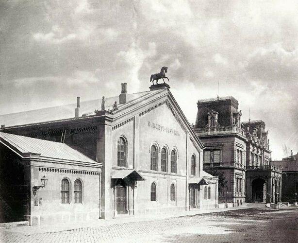 Nemzeti Lovarda (now demolished National Riding Hall) and the Károlyi-palace