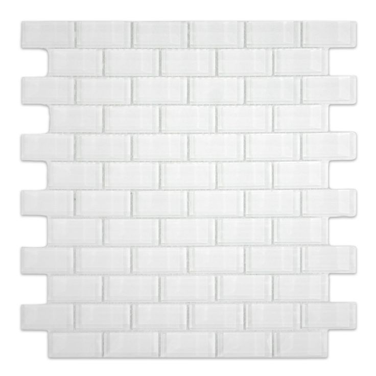 Show white 1x2 mini glass subway tile