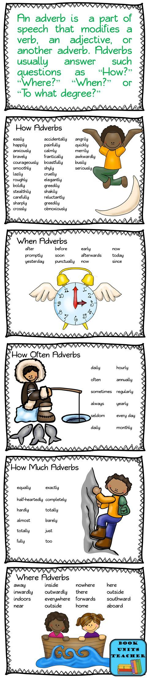 Free Printable Adverb Posters Repinned by Chesapeake College Adult Ed. We offer free classes on the Eastern Shore of MD to help you earn your GED - H.S. Diploma or Learn English (ESL). www.Chesapeake.edu