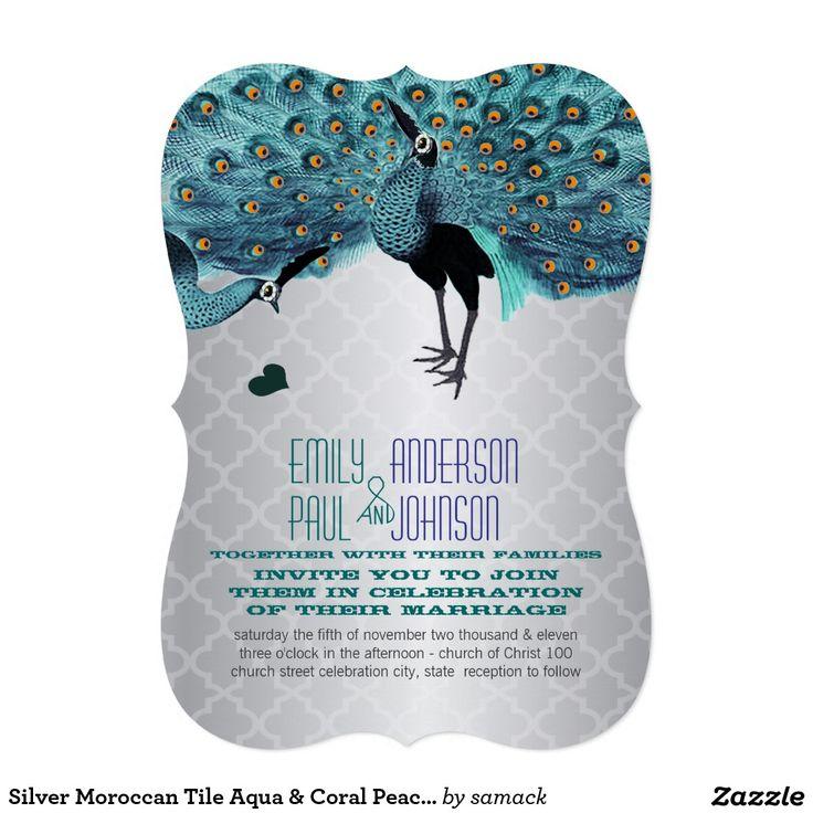 Silver Moroccan Tile Aqua u0026 Coral Peacock
