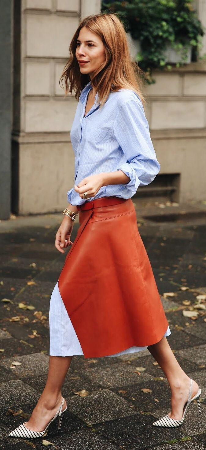 Rust Leather Skirt On Blue Shirtdress by MAJA WYH