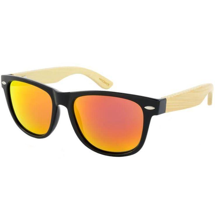 Ξύλινα γυαλιά ηλίου με βραχίονες από φυσικό bamboo με φακούς σε πράσινο και πορτοκαλί καθρέφτη. Προστασία UV400 και Πιστοποίηση CE. Πάρε τα δικά σου με 29.90€