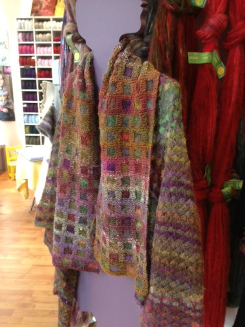 MOSAIC SCARF - inspiration... alas, I cannot find a pattern. Love the colours. I'm as interested in the jacket as much as the scarf. The combo is like a painting that you can live in!