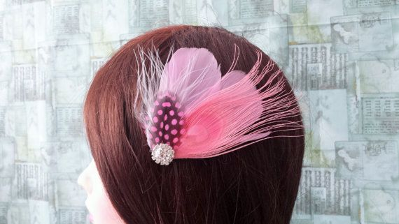 Pink Blush Peacock Bridal Feathers Fascinator Wedding Bridesmaid Prom Hairpiece Crystal Emellishment READY TO SHIP Actual Product