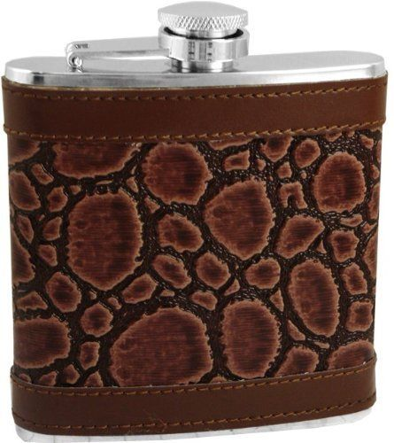 Exotic Leathers 6 oz. Hip Flask (Assorted) #5 by BeWild. $9.99. Do you love the look of exotic leathers but don't have the heart or budget to own it? These exotic leather wrapped flasks feature the most realistic faux imitation exotic texture leather available to date. Each flask is individually finished for superior construction and fit and finish. 100% quality stainless steel flask body is water tight, will not corrode, features a curved design to fit comfortably...