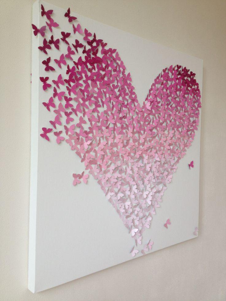 Uniek persoonlijk cadeau huwelijk trouwen trouwdag verjaardag liefde. 80 x 80 cm, verkrijgbaar in verschillende tinten. Alles op aanvraag, binnen 2 weken leverbaar. Te personalizeren door bv 4 gouden vlinders toe te voegen die gezinsleden repesenteren. Info@kantenclaar.com
