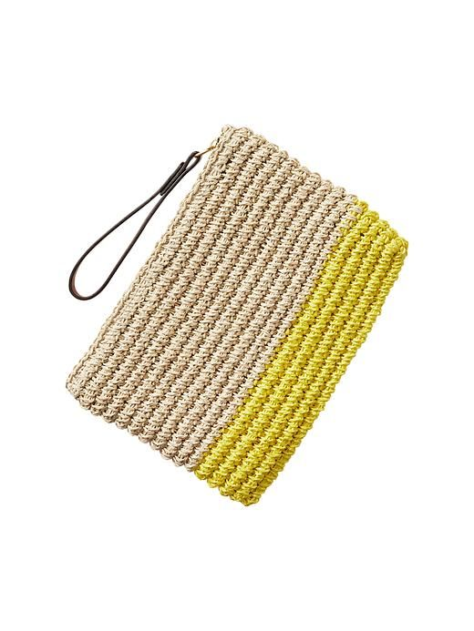 Colorblock straw clutch Product Image