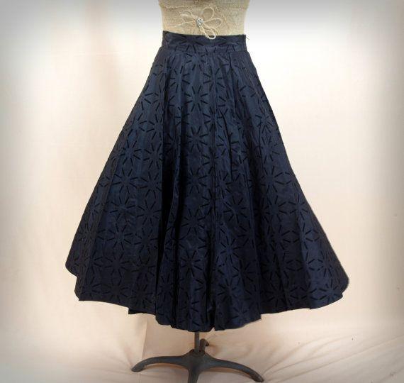 Black Full Circle Skirt * 1950s Skirt