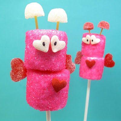 Marshmallow love bugsValentine Day Ideas, Valentine'S Day, Valentine Crafts, Valentine Treats, For Kids, Kids Crafts, Valentine Parties, Marshmallows Pop, Marshmallows Treats
