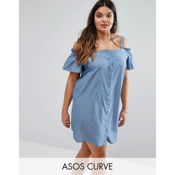 ASOS CURVE Cold Shoulder Button Through Sundress in Chambray ($31) ❤ liked on Polyvore featuring dresses, blue, plus size, short party dresses, blue sundress, plus size party dresses, plus size short dresses and blue maxi dress