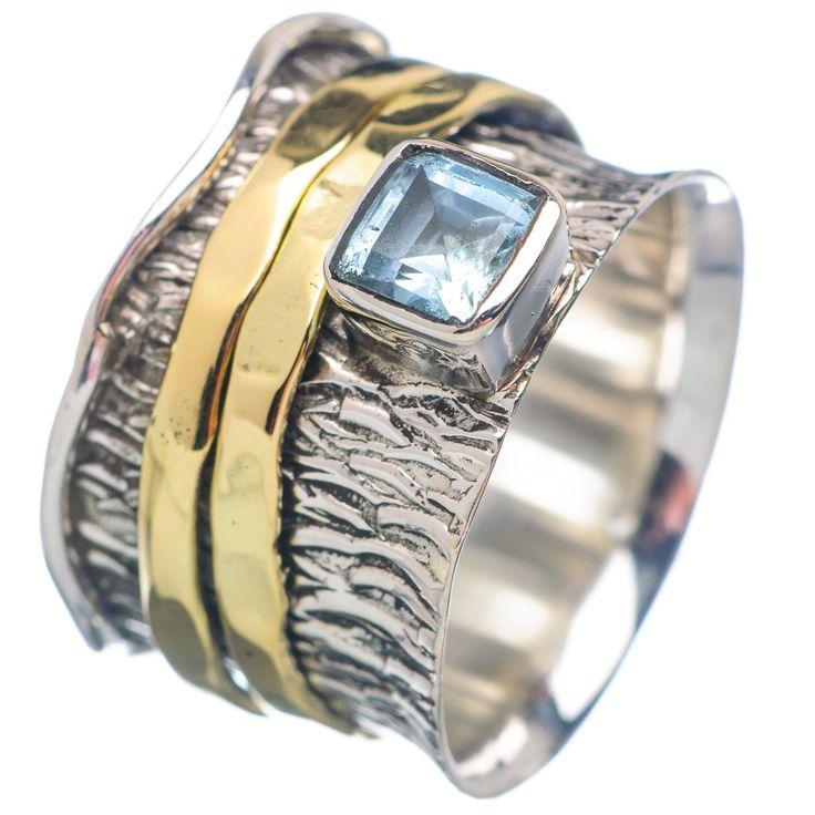 Spinner Ring - Two Tone Blue Topaz & Bronze