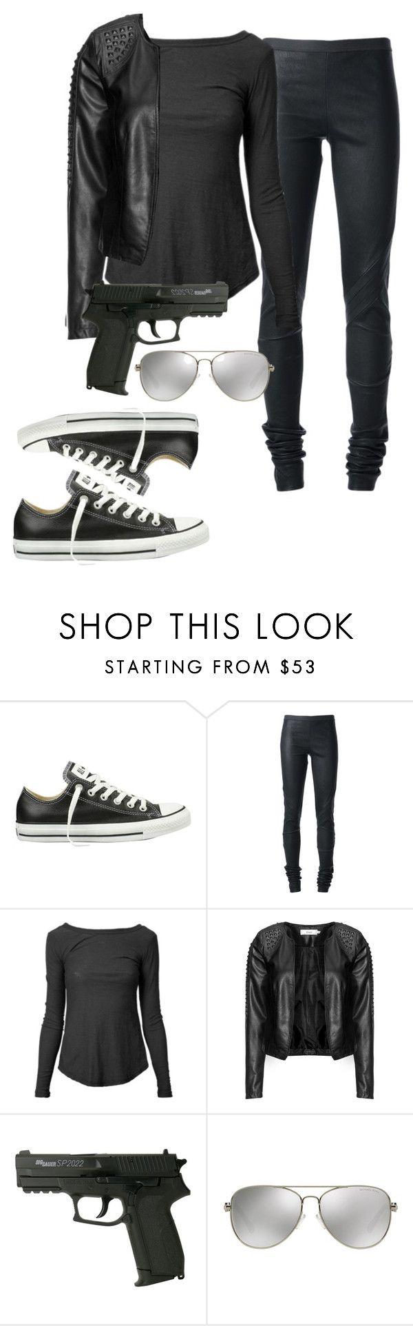 """Halloween costume: a badass spy"" by agirlfromnarnia ❤ liked on Polyvore featuring Mode, Converse, Rick Owens, James Perse, Zizzi und MICHAEL Michael Kors"