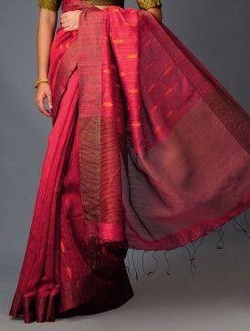 Handloomed in Jamdani Weave Red-Orange Tulip Silk Saree