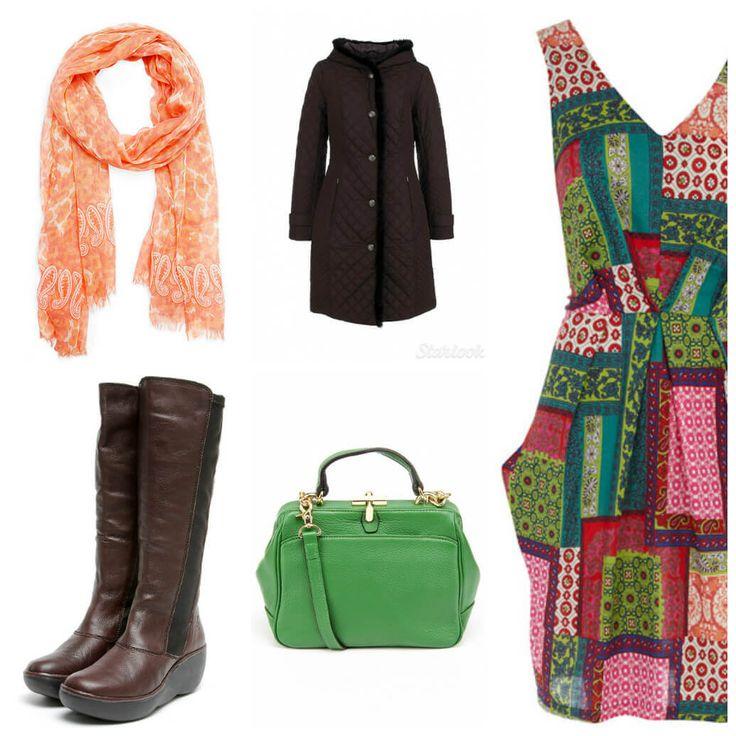 шифоновый шарф, стеганое пальто с оторочкой, платье без рукавов, сапоги на высокой подошве, зеленая сумка