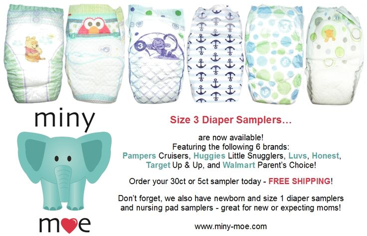Size 3 disposable diaper samplers now available at www.miny-moe.com, featuring Huggies Little Snugglers, Pampers Cruisers, Honest, Luvs, Walmart, and Target! We also have newborn and size 1 diaper samplers, as well as nursing pad samplers, which are great for new or expecting moms!
